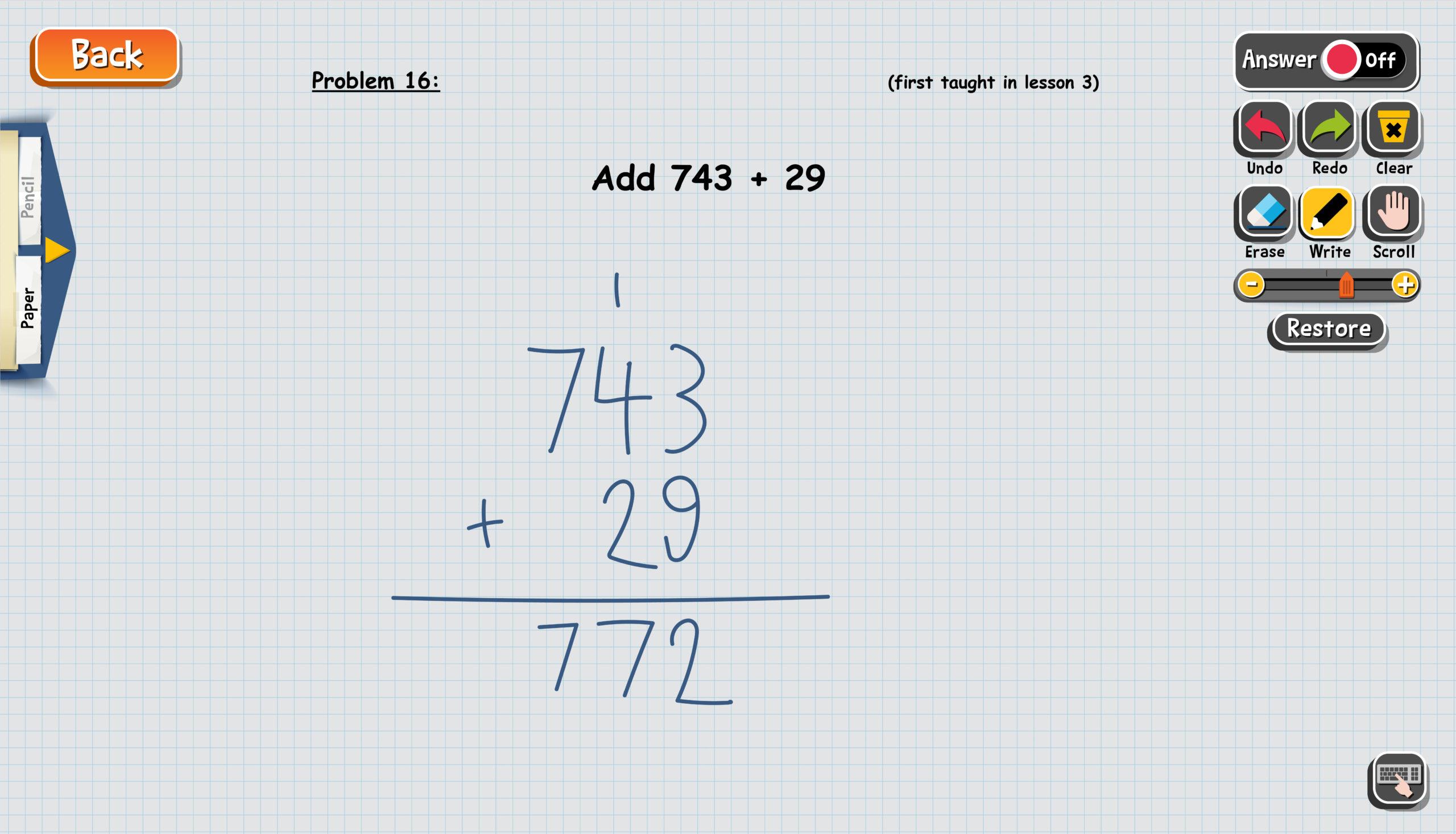 Screenshot of student scratch pad on Teaching Textbooks app
