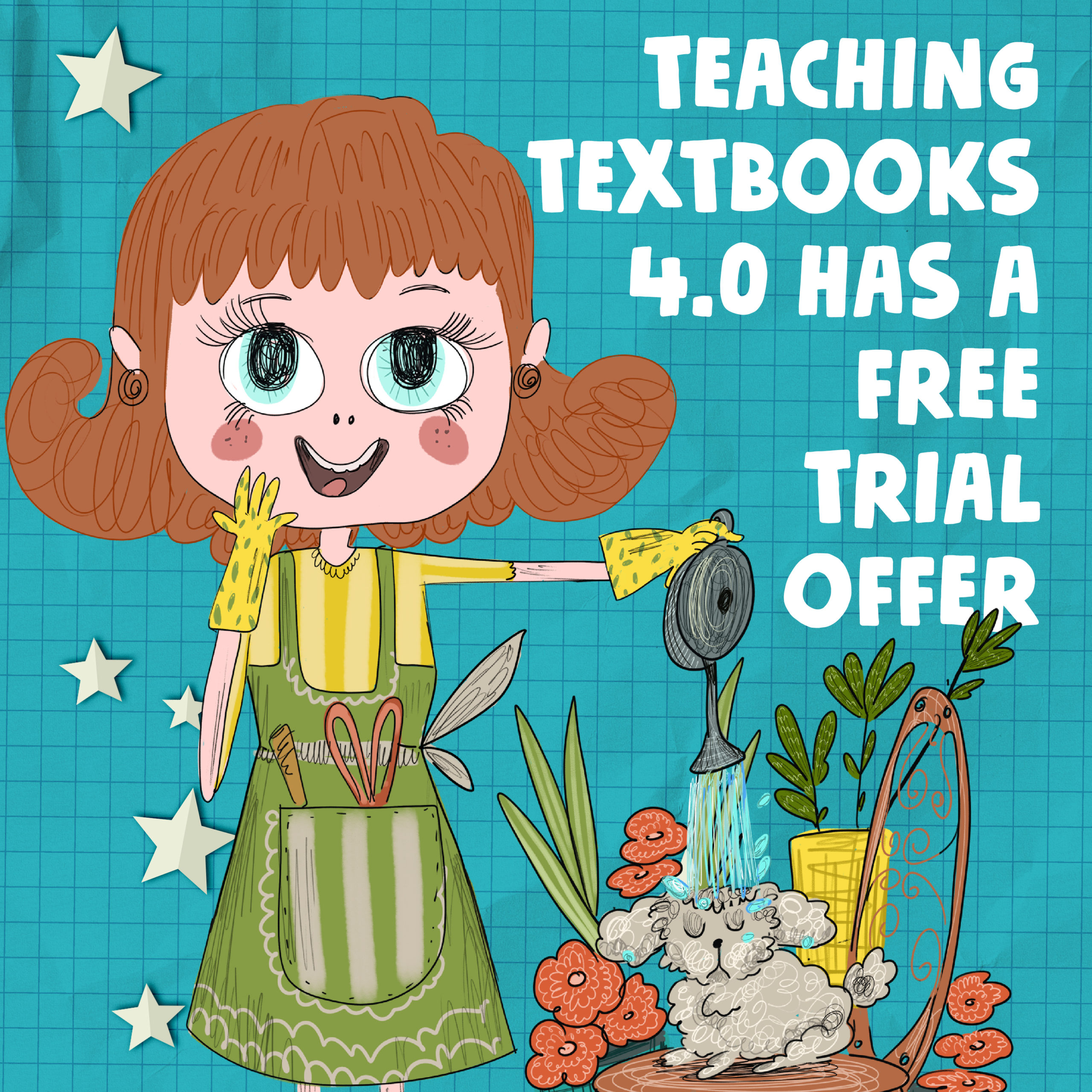 Graphic explaining teaching textbooks has a free trial, drawing of a woman gardening