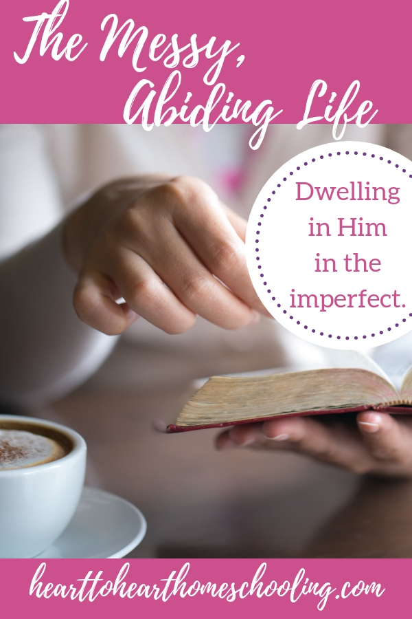 How can we abide in Christ when our lives are so messy? Do our lives have to be perfect, do WE need to be perfect, to be in fellowship with Him? #faith #Christianfaith homeschool mom | faith | homeschool | encouragement | encouragement for Christian women