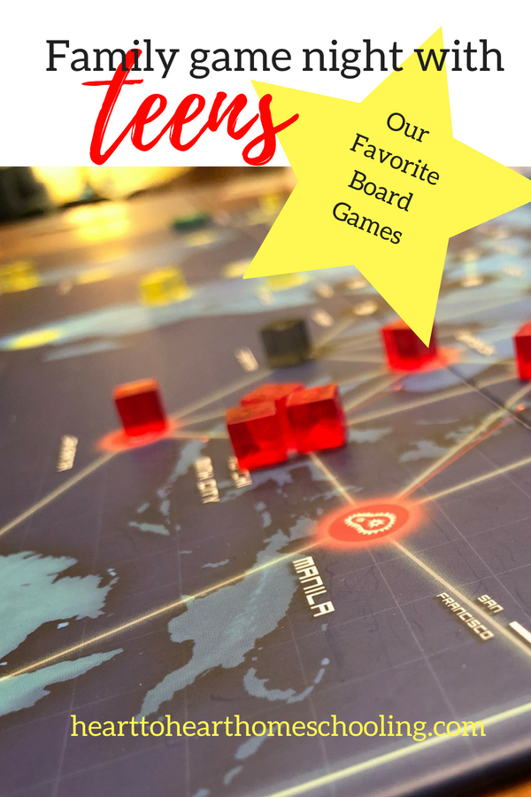 Want to build your family relationships? Have a family game night with your teens. Here are our top 5 favorite ones. #familytime #teens • board games • family time • board games for teens • building family relationships