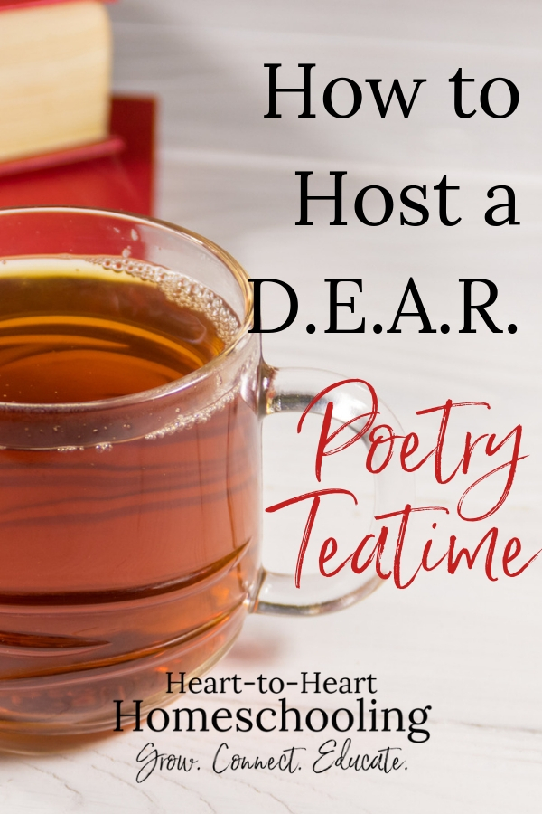 Celebrate Drop Everything and Read Day with a fun poetry teatime! From the Poetry Teatime Inspiration Series.  #homeschool #poetry #BraveWriter | homeschool | homeschool inspiration | homeschool ideas | poetry teatime | poetry for kids | Brave Writer lifestyle | Brave Writer homeschool | Brave Writer poetry teatime | Brave Writer poetry | Brave Writer kids | Brave Writer fun