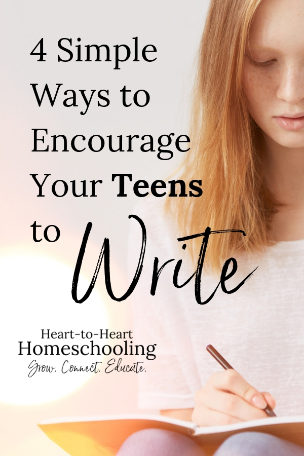 Do you have reluctant teen writers? Are they intimidated by a blank sheet of paper? Don't worry! Encourage your teens to write with these 4 simple strategies. #homeschooling #homeschool   homeschooling middle school   homeschooling high school    homeschooling teens ideas   homeschooling high school ideas   homeschooling high school tips   teaching writing   homeschool writing   writing teens   homeschool teens   how to homeschool teens