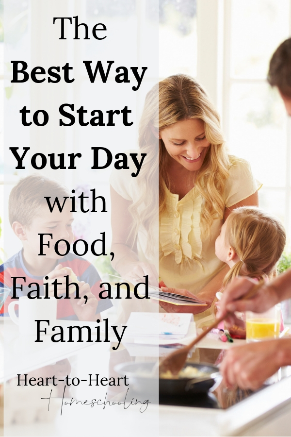 Begin your homeschool day calm and connected. Share quality time with your family each morning, and fuel both your bodies and your relationships. #homeschool #homeschooling | family | family time | family activities | family breakfast ideas | family breakfast kids | Bible devotions | Bible devotions with kids