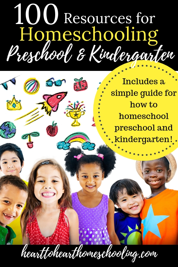 Homeschooling preschool and kindergarten can be simple and fun! Learn how to homeschool preschool and kindergarten and discover 100+ great resources to help. #homeschool #homeschooling | how to homeschool preschool | how to homeschool kindergarten | homeschooling preschool | homeschooling kindergarten | preschool activities | kindergarten activities | how to homeschool | homeschool resources | homeschool curriculum